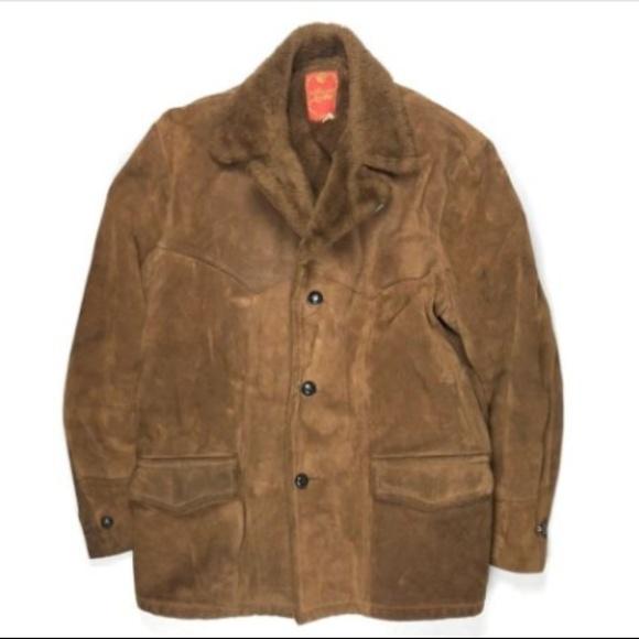 R Sherman Jackets Coats Vintage 70s Suede Shearling Coat Men 44